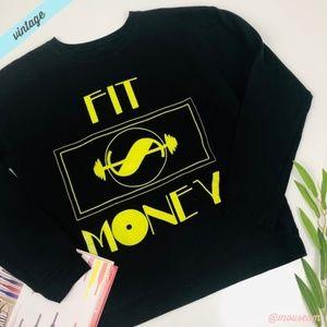 [Hanes] VTG Black Fit Money Neon Sweatshirt